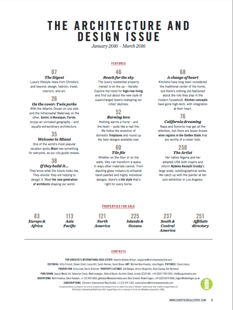 Christie s architecture design issue 2015 provaltur for Architectural design issues